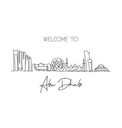 One continuous line drawing abu dhabi city vector