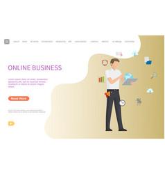 Online business web poster man working worldwide vector
