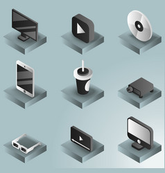 online cinema color gradient isometric icons vector image