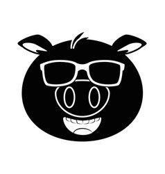 Pig emoji with sunglasses kawaii vector