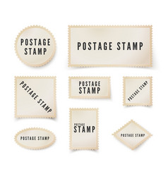 postal stamp template with shadow retro blank vector image