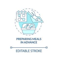Preparing meals in advance blue concept icon vector