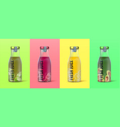 Realistic juice bottle 3d packaging for detox vector