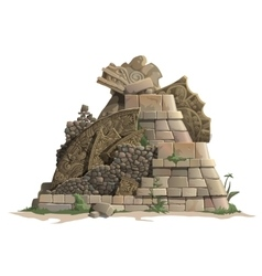 Ruins of antique Mayan pyramid cartoon style vector