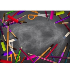 School supplies on blackboard plus EPS10 vector