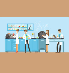 scientists man and woman working in a lab vector image