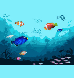 sea underwater world with bright fish and animals vector image