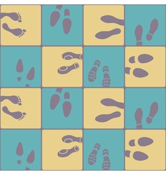 Seamless background with footprints and shoeprint vector image