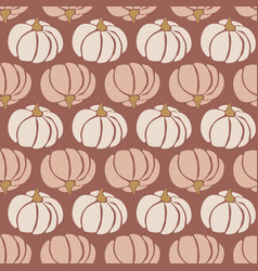 seamless pattern pumpkins white pink brown vector image
