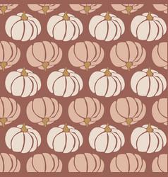 Seamless pattern pumpkins white pink brown vector