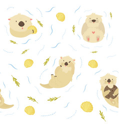 seamless pattern with cute swimming otters vector image