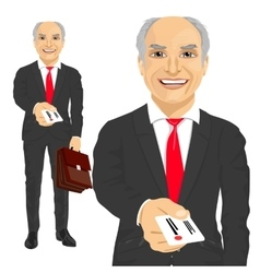 Senior businessman giving business card vector