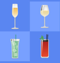 set alcohol drinks fizzy champagne glass of wine vector image