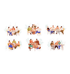 Set families friends and colleagues sitting vector