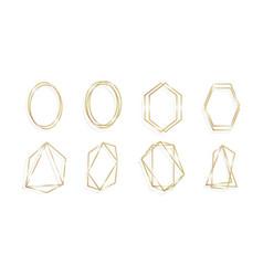set geometric golden frame invitation cards vector image