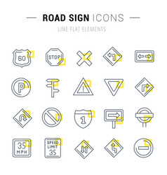 set line icons road sign vector image