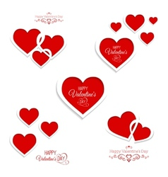 set of hearts for Valentines Day vector image