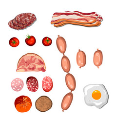 set of sausage bacon salami smoked boiled vector image