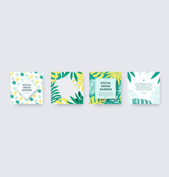 set of square social media banners with green vector image
