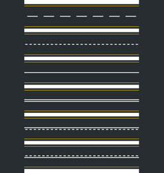 Set seamless road types highway top view vector