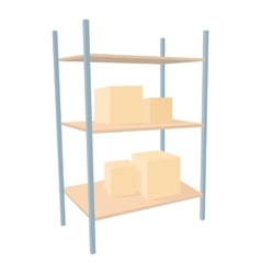 Shelves with cardboard boxes icon cartoon style vector image