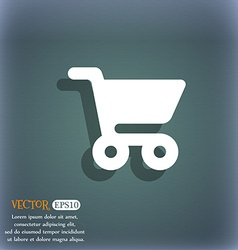 shopping basket icon symbol on the blue-green vector image