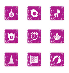 Small age icons set grunge style vector
