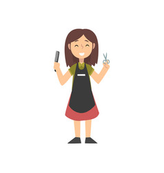 Smiling girl hairdresser character in uniform with vector