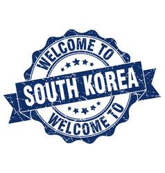 South korea round ribbon seal vector