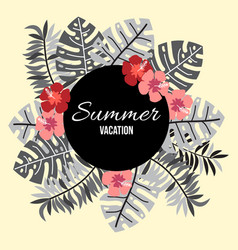 summer background with tropical leaves and flowers vector image