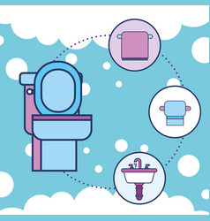 toilet towel paper and washbasin bathroom vector image