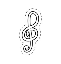 treble clef music cut line vector image