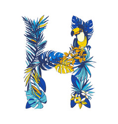 tropical floral summer letter h hand drawn vector image