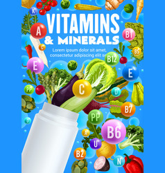 Vegetables vitamins and minerals plastic bottle vector