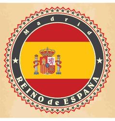 Vintage label cards of Spain flag vector image