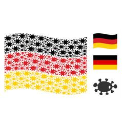Waving germany flag mosaic of bacteria items vector