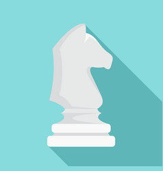 white chess horse icon flat style vector image
