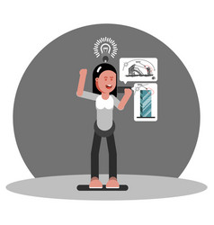Woman architect generate an idea vector