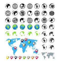 world maps on globes icons earth global map vector image