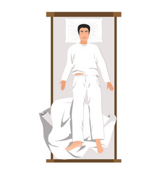 young man sleeping in bed at home top view vector image