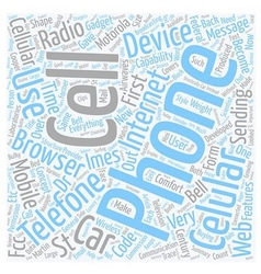Cell phone features text background wordcloud vector