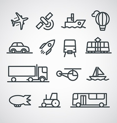 Different transport icons collection clip-art vector image
