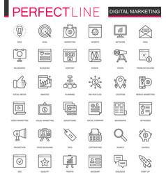 Digital marketing thin line web icons set online vector