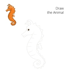 Draw the sea horse educational game vector image