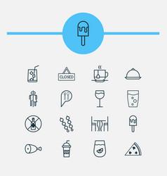 eating icons set with lemonade kebab soft drink vector image