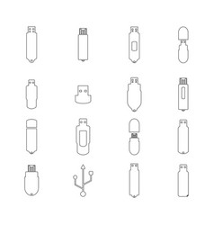 icons flash drive from thin line vector image