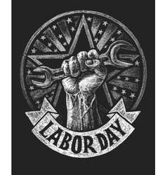 Labor day poster on the chalkboard vector image vector image