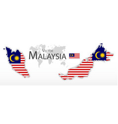 malaysia flag and map vector image vector image