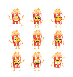 Popcorn- set of mascot vector