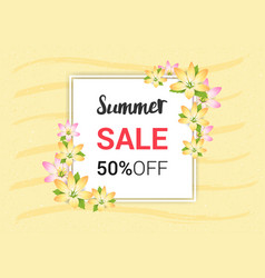 summer flowers banner or poster for holiday sales vector image